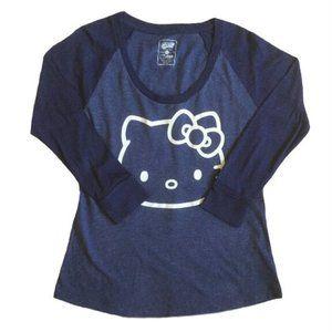 Hello Kitty Blue Navy Baseball Longsleeve Tee Size S